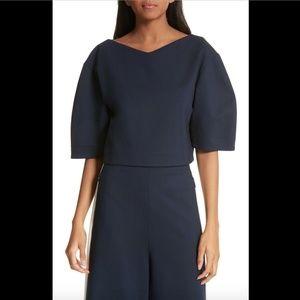 NEW $295 Tibi Bond Stretch Knit Crop Top in Blue
